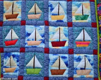 """Hand quilted Baby blanket , 44 x 58"""""""