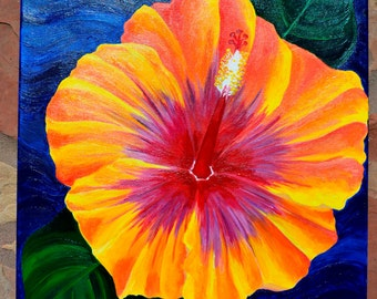Hibiscus Flower Painting,  Original, Art, Acrylic, Tropical, 20X24