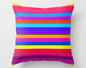Pillow Cover, Colorful Throw Pillow, Colorful Pillow, Bright Stripes Pillow, Living Room Decor, Bedroom Decor, Kid's Decor, Office Decor