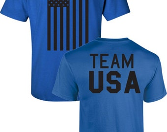 Team USA American Flag Olympics Front and Back Men's Tee Shirt 751