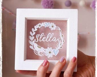 Mini Name Wreath, Personalised Paper Cut, Birthday Gift, Keepsake