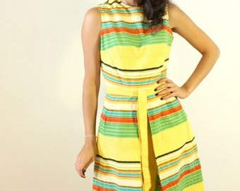 1950s Yellow Striped Summer Dress with Original Belt and Pockets