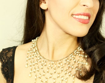 Vintage 1950s Gold and Pearl Chain Bib Necklace
