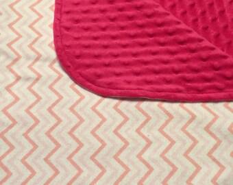 Nursery Blanket, Minky Receiving Baby Blanket, Baby Blanket, Minky Blanket, Pink Baby Blanket, Chevron Baby Blanket, Baby Girl Blanket