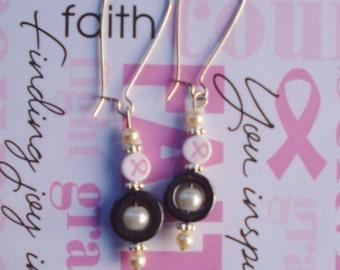 Breast cancer awareness pearl and hematite drop dangle earrings
