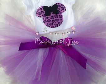 PURPLE CHEETAH Minnie Mouse Shirt & Tutu