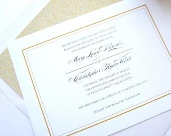 Traditional Wedding Invitation, Gold Wedding Invitations, Minimal, Simple Wedding Invitations, Gold Glitter Wedding - Deposit
