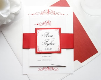 Traditional Wedding Invitation, Red Wedding Invitation, Wedding Invite,  Sophisticated Wedding, Formal Wedding Invitation- Deposit