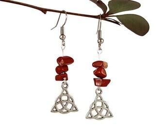 Celtic symbol earrings, red jasper jewelry, natural stone earrings, silver symbol jewelry red stone jewelry irish symbol dangle earring tryn