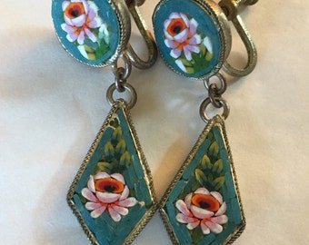 Antique micro mosaic earrings
