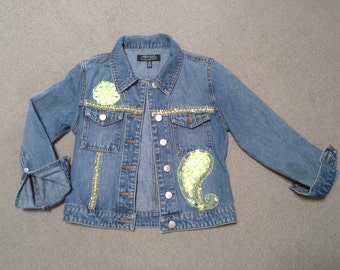 GIRLS DENIM JACKET boho jacket, blue jacket, jean jacket, green sequin jacket, birthday party coat, winter denim jacket, 10 to 12 year old