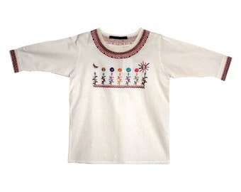 Mexican corn field embroidered top - natural 100% cotton (manta)