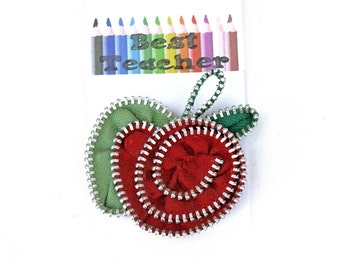 Zipper Apple dual funtion brooch hairclip - TEACHERS GIFT - free UK postage - worldwide delivery available. zip jewellery by Habercraftey