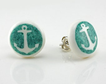 """Hand Carved- """"Turquoise Anchor"""" - Bone with Turquoise Inlay Stud Earring - Freedom"""