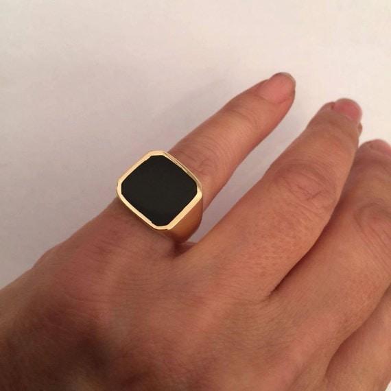 Signet Ring Onyx Ring Women Ring Men Ring Black Onyx Ring