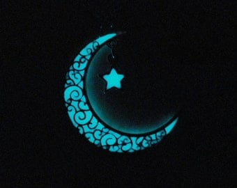 Glow In The Dark Moon Necklace with little Star, Fantasy Glowing Jewelry