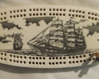 North Coast Trading Co Classic Etchings Cribbage Board Ships