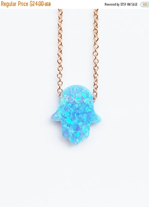 opal hamsa necklace rose link chain