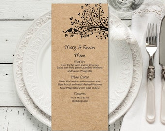 EDITABLE Wedding Menu, Rustic Kraft Birdie Wedding Menu, Download Instantly wedding menu template, digital PDF, you print, DIY