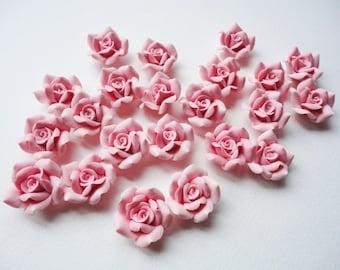 "2 pcs  1"" Rose Beads, cold porcelain rose, clay rose bead, flower bead, handmade flower bead, jewelry rose bead, handmade rose bead"