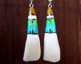 Hand Painted Buffalo Teeth Earrings- Southwest Design on Natural Ivory Color ...Indian, Painted Desert, Western, Rustic