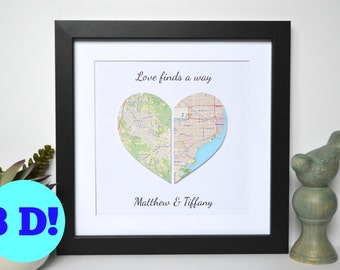 Map Art for Long Distance Relationship- 1st Anniversary Gift, Paper Anniversary,  Paper Heart Map Art, Framed Wall Art, Map Decor, Map Print
