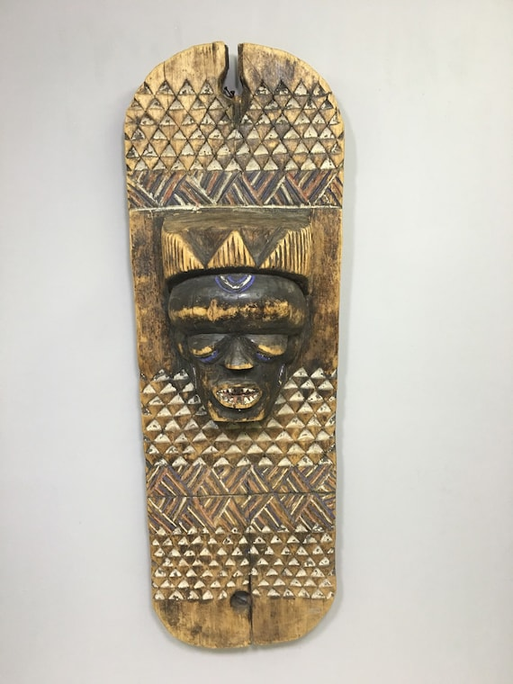 African Mask Pende Panel Ritual Board Congo Africa Handmade Carved Painted Wood Status Ceremonial Mask
