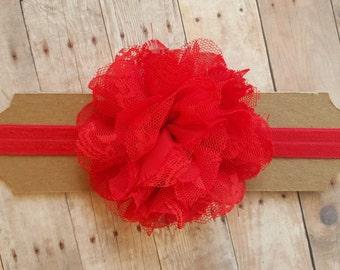 Red Headband/ Red Flower Headband/ Red Baby Headband/ Red Newborn Headband/ Toddler Headband/ Infant Headband/ Baby Headband
