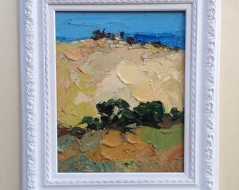 Landscape painting, Colorful Abstract Landscape, Original Oil Painting, Framed Ready to Hang, Thick Layers, Unique Art, Gift for Him