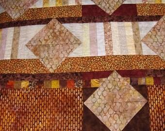 Brown Throw Quilt, Batik, Couch Quilt, Mans Quilt, Sofa Quilt