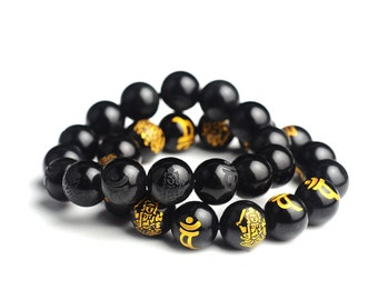 Natural Obsidian Manjushri Buddha Bracelet for  Men and Women-WEN522586947374-GVN
