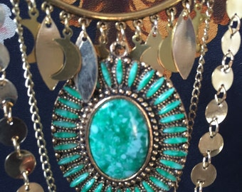 Nature Inspired little lunas and Vintage green pendant statement gypsy chain necklace