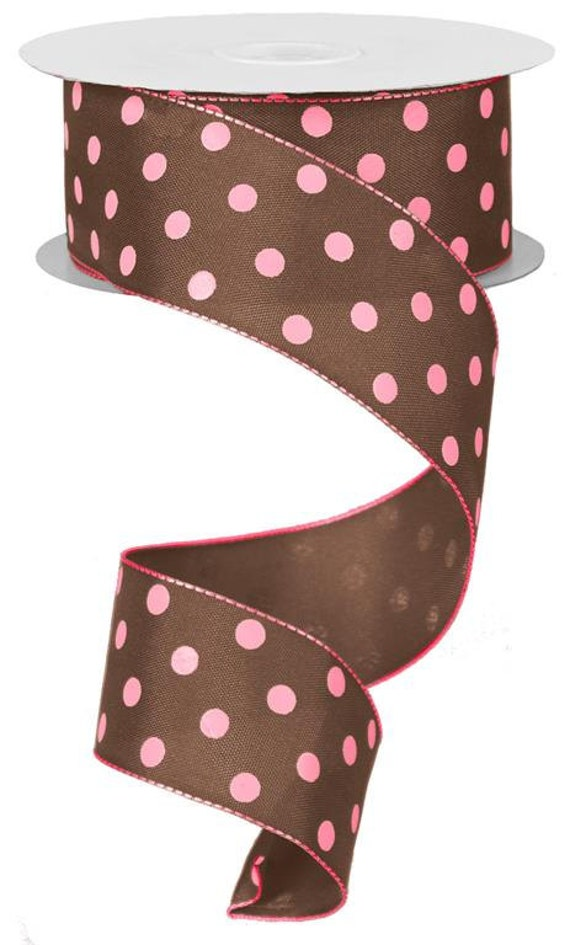 1 5 Brown Pink Polka Dot Ribbon Chocolate Brown Pink