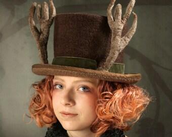 Antler Top Hat - Top Hat - Felt Top Hat - Deer Hat - Brown Top Hat - Antlers