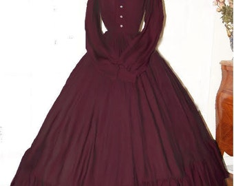 I-D-D Civil War Reenactment Victorian Garibaldi Burgundy 3 Piece Dress S/M