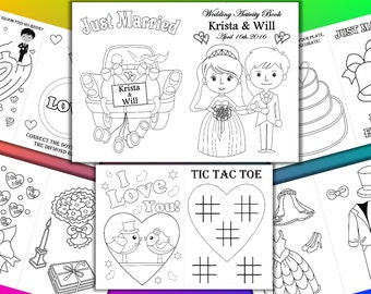 Kids Wedding Coloring Activity Book Printable Pages Personalized Pdf File