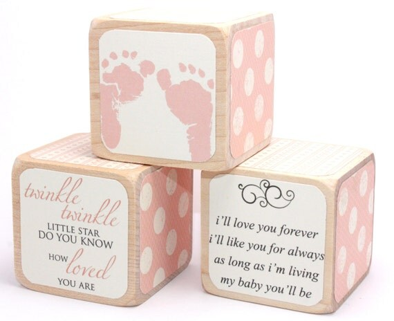 Wood Blocks Baby Girl Nursery Shabby Chic Twinkle