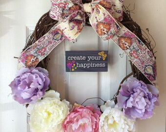 Create Your Happiness Shabby Chic Grapevine Wreath; Power of Positivity Wreath; Boho Chic Spring Wreath; Teacher Gift; Mother's Day Gift