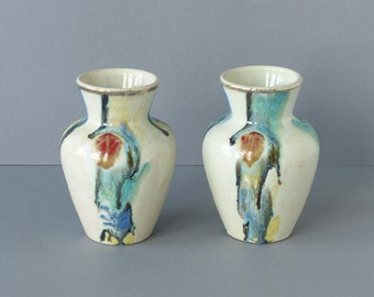 Set of 2 mini vases by Jasba West Germany, white, cream, with a pattern of warm colors, WGP model 131-12, sixties, mini