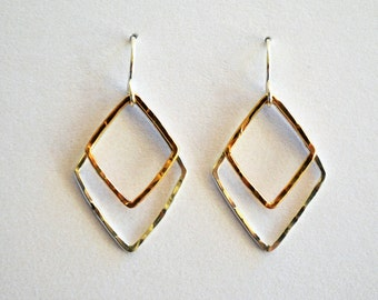 Diamond Hammered Two-Tone Earrings