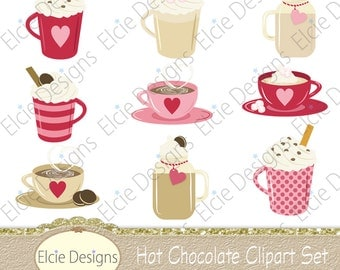 Hot Chocolate Clipart Set - Instant Download
