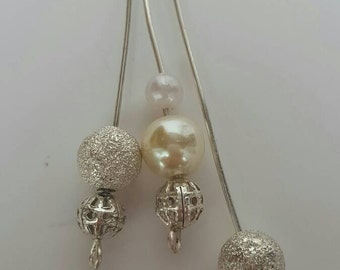 Silver plated dangle drop earrings