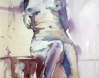 Etude. Nu. 2. Original Contemporary watercolor painting