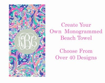 Monogrammed Lilly Pulitzer Inspired Beach Towel