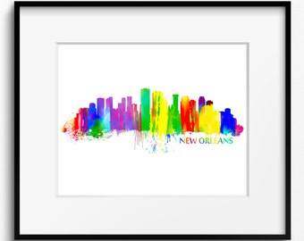 New Orleans Skyline Watercolor Art Print (038)