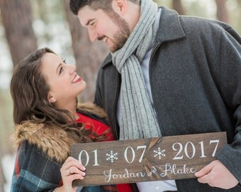 Wedding Date Sign - Winter Wedding Sign- Winter Wedding Decor- Wedding Sign- Wedding Signage- Engagement Photo Prop- Wedding Photo Prop