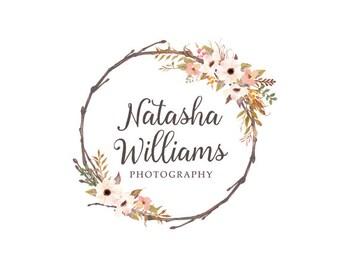 Premade logo bohemian logo wreath flowers logo graphic design photography logo floral logo