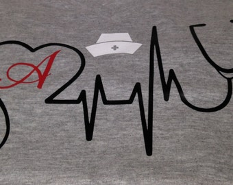 Monogramed Love Nurses T-Shirt