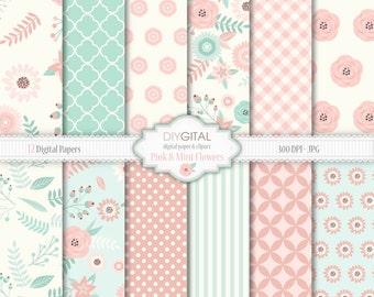 "Floral Digital paper pack ""Pink and Mint Flowers""- floral wedding, vintage flowers, rose digital paper, for scrapbooking, invites, cards"