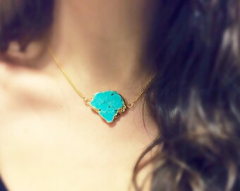 Raw Turquoise necklace gold electroplated
